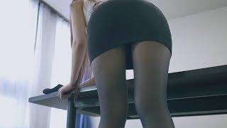タイトスカート×黒ストッキングOLが机掃除【Office Lady Tight Skirt】